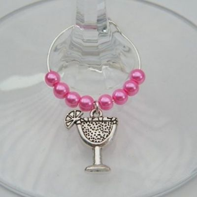 Cocktail Glass Wine Glass Charm - Beaded Style
